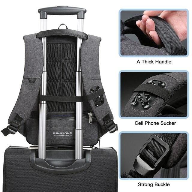 Kingsons  Laptop Backpack Men Women 13 15 USB Chargin Anti-theft Lock Travel Backpack Phone Sucker School Bag Fashion Backpack 2