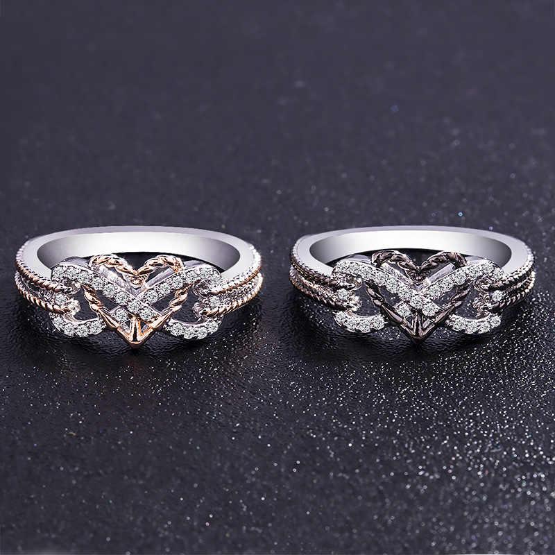 2-cor rosa ouro/ouro preto doce estilo coração tendência amor infinito incorporado cristal zircão anel de prata jóias femininas