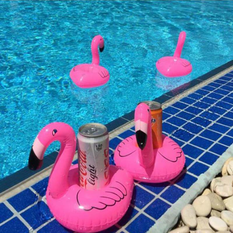 2019 New Mini Flamingo Pineapple Floating Inflatable Toy Drink Can Cell Phone Holder Stand Pool Event Party Supplies Selling.