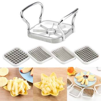 5 In 1 Stainless Steel Slicer Cutter Cut Device Grid for Vegetables Salads Potato Mushroom Tools Chopper for Kitchen Chopper image