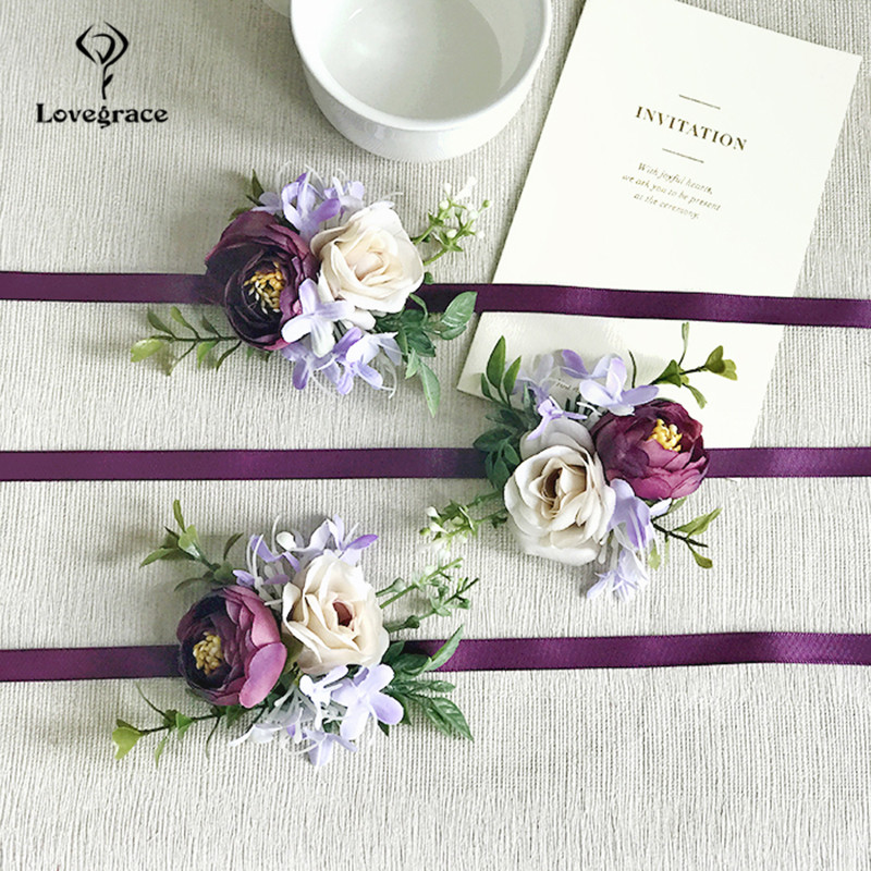 Purple Rose Wedding Silk Flower Groom Boutonniere Fake Flower Wrist Corsage Bracelet Boutonniere Wedding Corsage Brooch Flowers