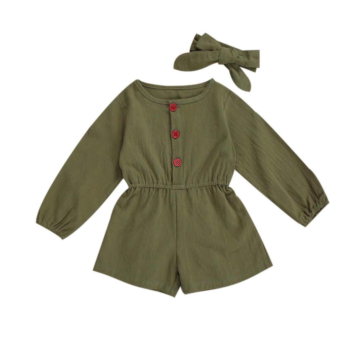 2020 0-3Y automne enfants bébé fille barboteuse avec bandeau armée vert à manches longues tunique combinaison combishort 2 pièces coton vêtements