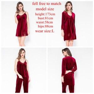 Image 4 - JULYS SONG ensemble 4 pièces de pyjama chaud dhiver en velours, pyjama Sexy en dentelle, vêtement de nuit, sans manches