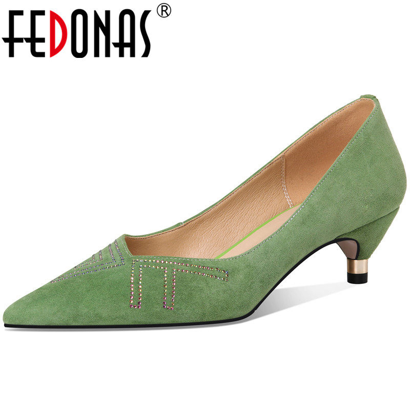 FEDONAS Women Kid Suede Crystal Glitters Pointed Toe Pumps Night Club Prom Shoes Spring Summer Rome Strange Heeled Shoes Woman
