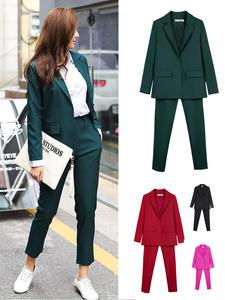 Suits Uniform Blazer Pencil-Pant Interview Office Women Business OL Smil And Lady