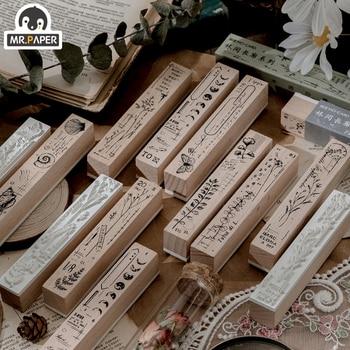 Mr.Paper 8 Designs Forest Promenade Wooden Rubber Stamp for Scrapbooking Decoration Planner DIY Craft Escolar Standard Size Seal 1