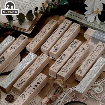 Mr.Paper 8 Designs Forest Promenade Wooden Rubber Stamp for Scrapbooking Decoration Planner DIY Craft Escolar Standard Size Seal
