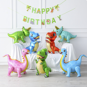 1pcs 4D dinosaur balloons foil standing green dinosaur Red dragon birthday deco party supplies boy kids toys helium globals