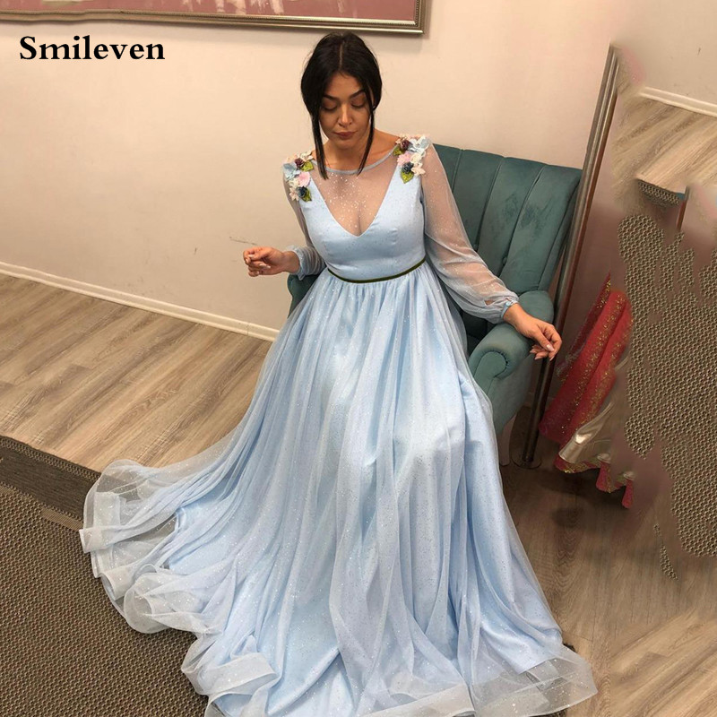 Smileven Sky Blue Formal Evening Dress Puff Sleeve Prom Party Dress Long Special Occasion Party Gowns With Flowers