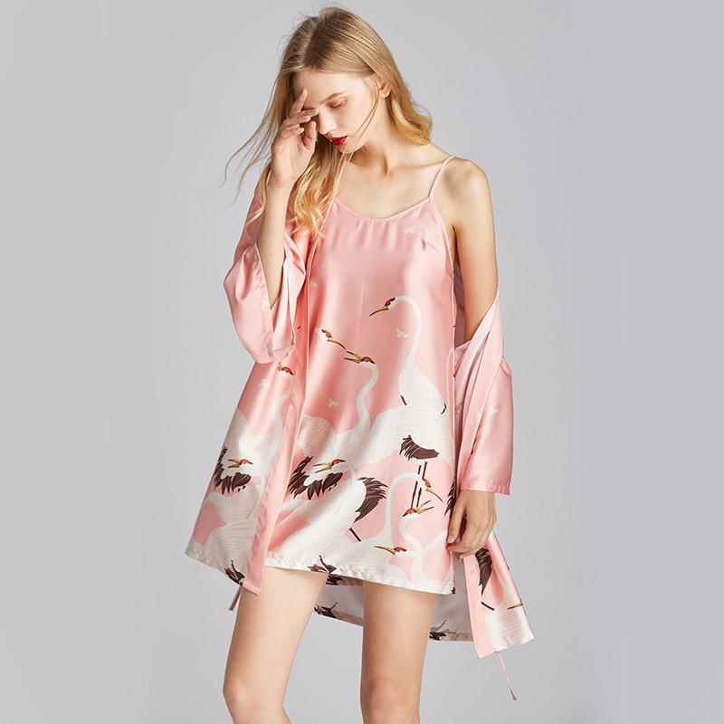 2020 New simple style spring and summer sleep gown women's loose robe bathrobe dressing sleepwear gown crane women's home wear
