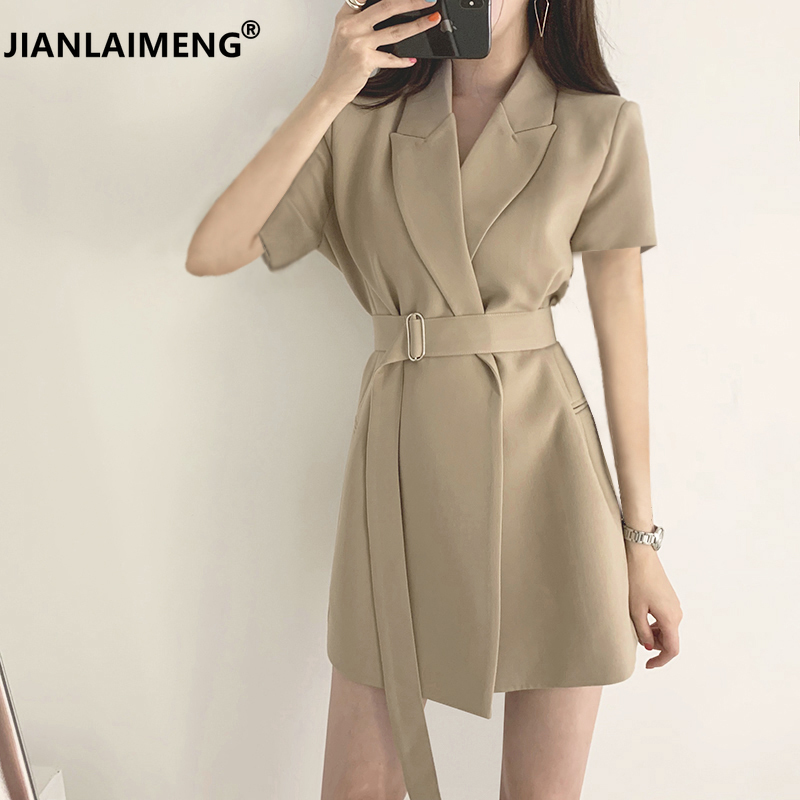 Fantasia feminina cintura alta estilo coreano, vestido mini vestido preto sexy com cadarço vintage elegante para escritório 2020 vestido de vestido