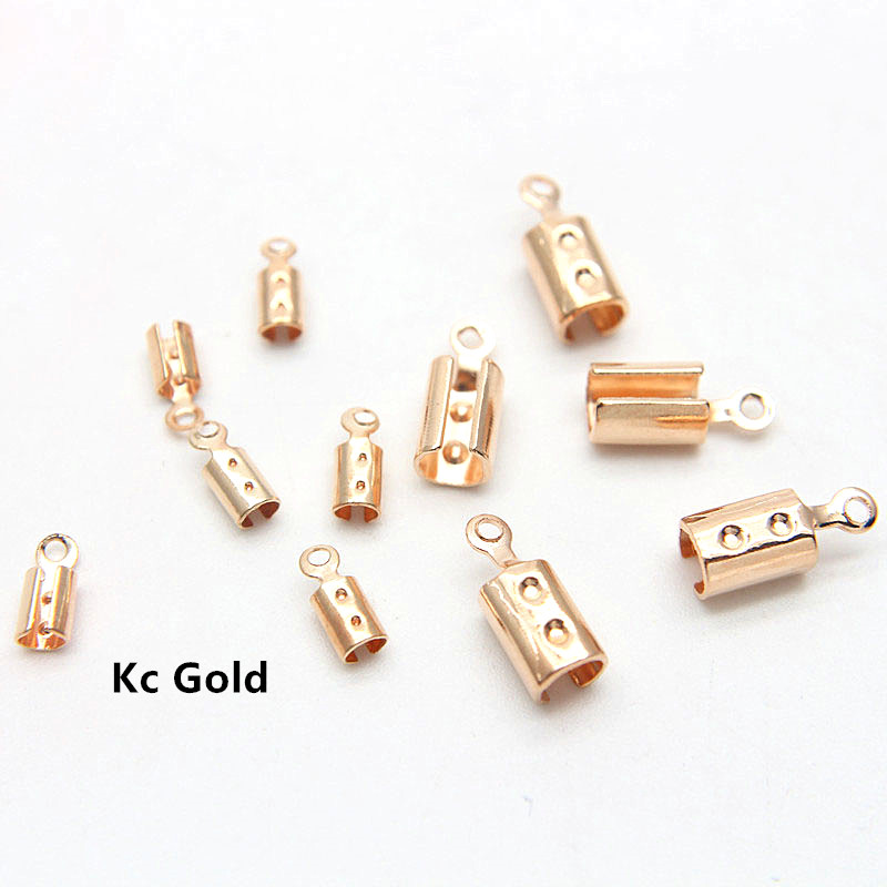 F2010 3 colors choice 100pcs color 25mm width metal fold-over crimp findings cord end cap clasp fastener fold over clip