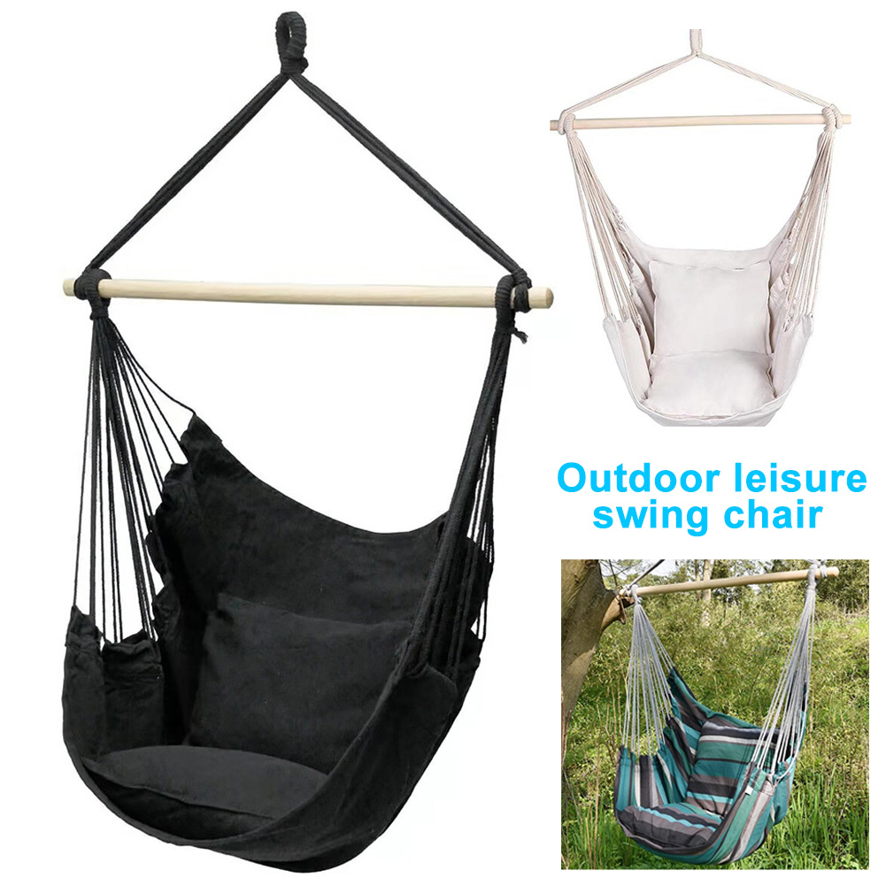 Outdoor Swing Portable Home Garden Furniture Travel Camping Bedroom Canvas Indoor Relaxation With Cushion Hanging Hammock Chair