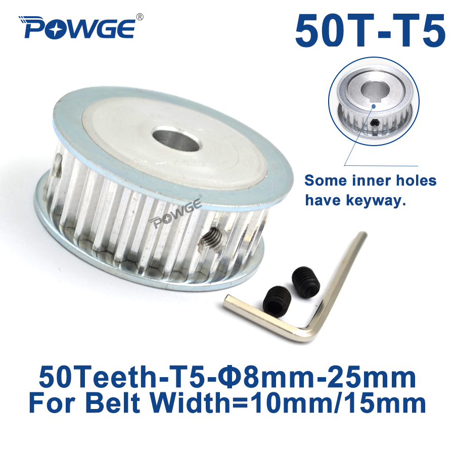 POWGE 50 Teeth T5 Timing Synchronous pulley Bore 8/10/12/14/15/19/20/22/25mm for belt width 10/15mm 50-T5-15 AF Gear 50teeth 50T