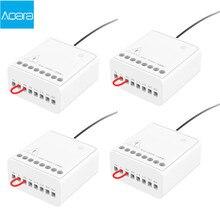 Aqara Módulo de Control de vía dual, controlador de Relé inalámbrico, temporizador inteligente, 2 canales, funciona con la aplicación Mijia y Homekit