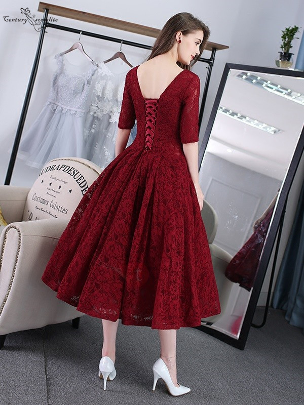 Burgundy Short Prom Dresses 2020 Lace Tea-Length Half Sleeves Corset Back Homecoming Dresses Formal Party Dress Robe De Soiree
