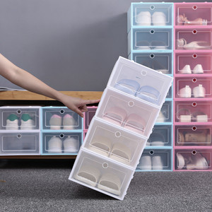1PC Foldable Clear Shoes Storage Box Plastic Stackable Shoe Organizer Stackable Space Saving Modern Shoebox Shoes Display Case