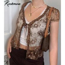 Rockmore marron maille transparente T-shirt femmes à lacets Cardigan hauts Y2K manches courtes t-shirts chemises Streetwear été Sexy T-shirt