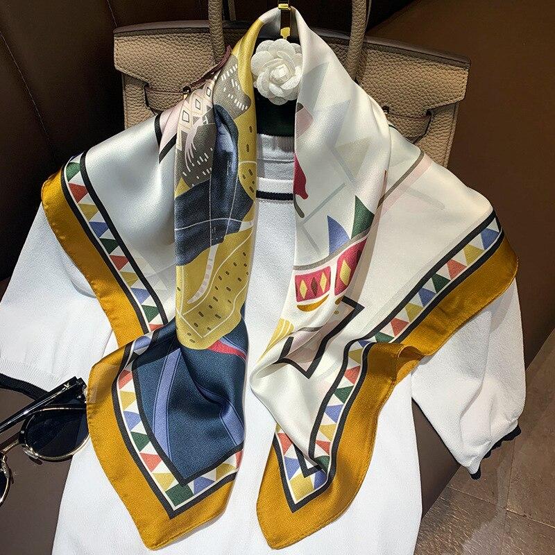 Small Kerchief Silk Neck Scarves For Women Fashion Print Satin Head Scarf Female 70cm*70cm Square Shawls Hijab Scarfs For Ladies