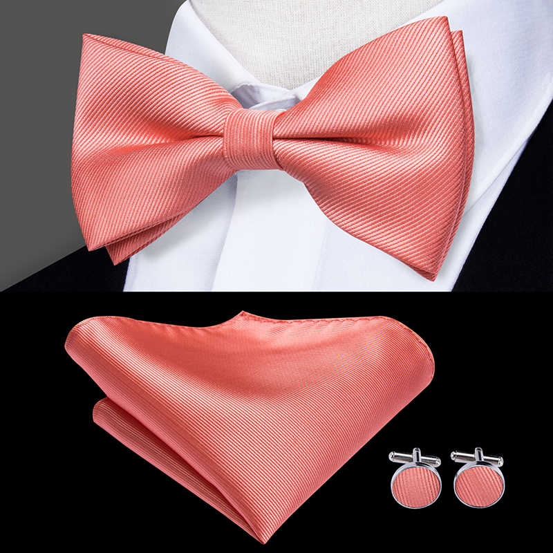 Men/'s Long Pink Satin Bow Tie and Hanky Set