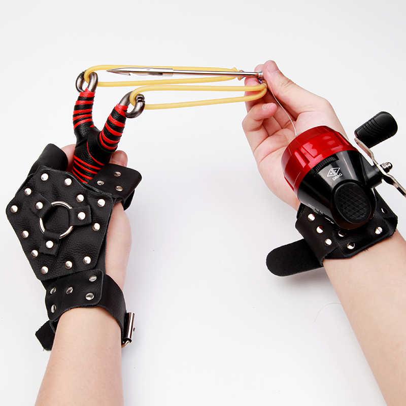 낚시 슬링 샷 세트 사냥 투석기 낚시 릴 + 다트 + 핸드 가드 + 고무 튜브 낚시 휠 야외 촬영