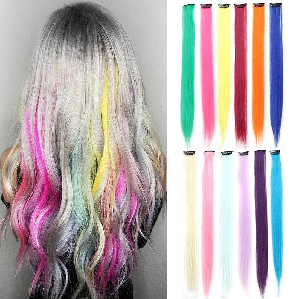 Набор из 24 штук, 22 дюйма длинные прямые Цвет Фул Радуга волосы для наращивания на заколке из синтетического волоса, Цвет волос вечерние хит п...