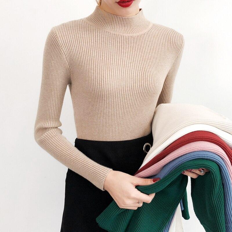 BEFORW 2019 Neue Hohe Qualität Herbst Rollkragen Pullover Frauen Einfarbig Langarm Pullover Winter Gestrickte Beiläufige Pullover Top