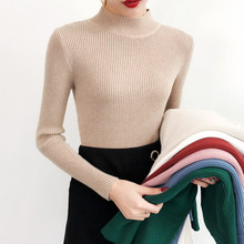 BEFORW 2019 New High Quality Fall Turtleneck Sweaters Women Solid Color Long Sleeve Sweaters Winter Knitted Casual Pullovers Top(China)