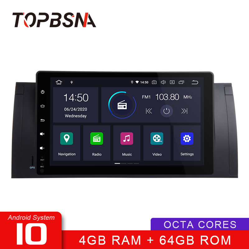 TOPBSNA Android 10 Car Multimedia Player for BMW E39 E53 M5 E38 WIFI GPS Navigation 1 Din Car Radio Stereo RDS Automotive Video image