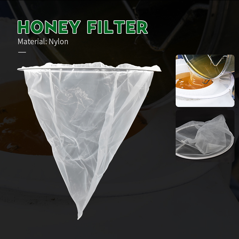 BEETOP 1PCS Mesh Nylon Cone-shape Honey Strainer Filter Fiber Net Single Layer White Beekeeping Tools Purifier Apiary Equipment