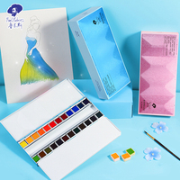 Paul Rubens 24 Colors Artist Solid Glitter Watercolor Paint Set Pearl Water Color Aquarelle For Painting Drawing Art Supplies