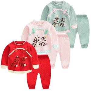 Новинка; сезон осень-зима; китайский стиль; Изысканные вязаные комплекты для малышей в стиле ретро; цветочный пуловер; свитера для маленьких...