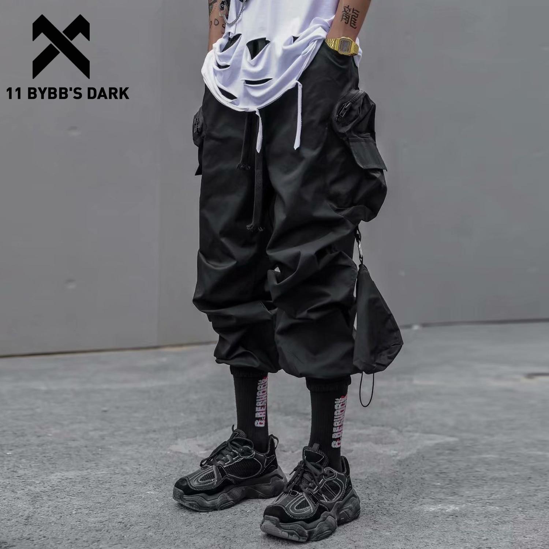 11 BYBB'S DARK Hip Hop Zipper Big Pockets Cargo Pants Men 2020 Elastic Waist Tactical Loose Streetwear Joggers Trousers Techwear