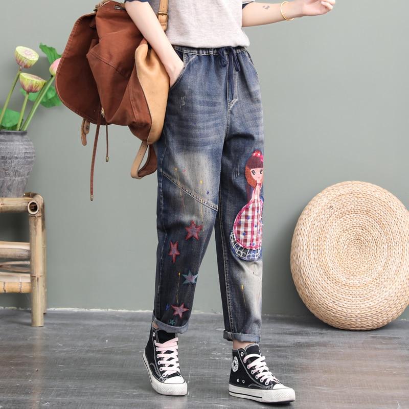 2020 New Autumn Plaid Girl's Patch Jeans Pants Women Loose Plus-sized Print Capri Harem Pants Retro Female Leisure Denim Pants