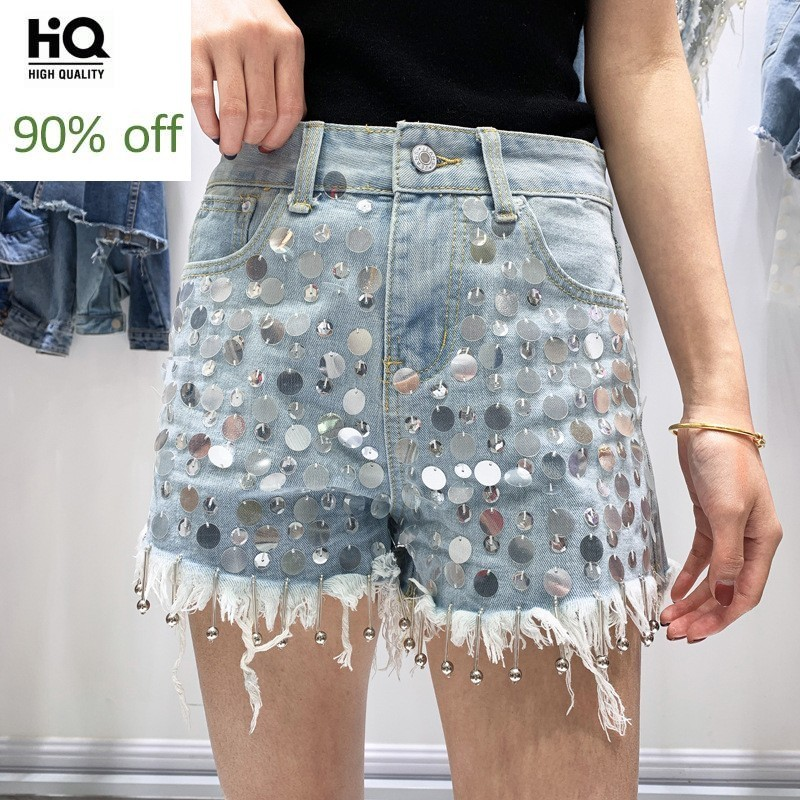 Womens Summer High Waist Sequins Embroidered Denim Shorts High Street Punk Clubwear Fashion Frayed Casual Female Wide Leg Shorts
