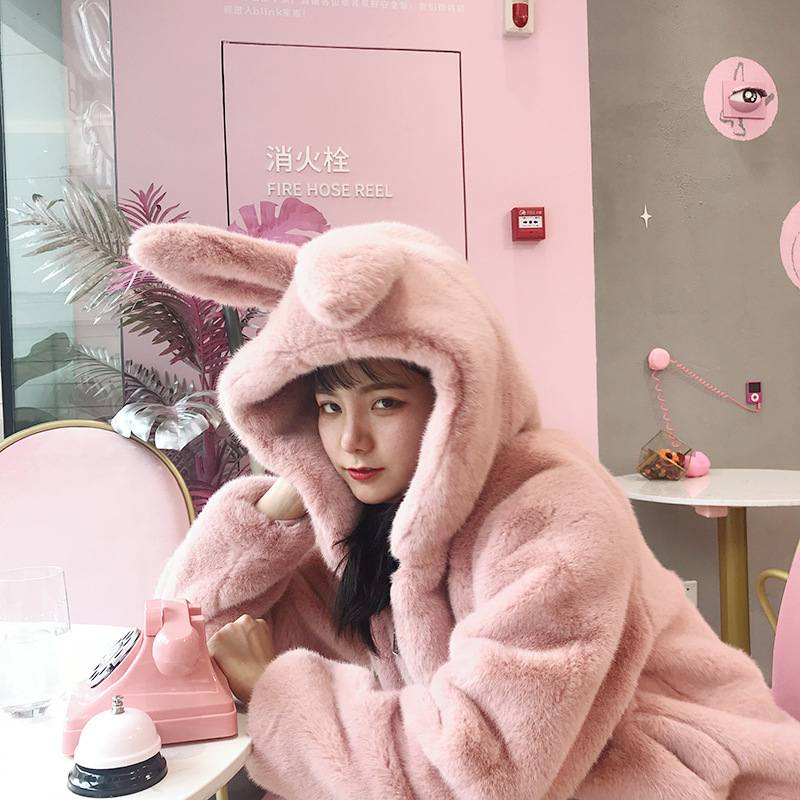 Cute Hooded Faux Fur Rabbit Ears Hooded Fluffy Coat Cartoon Imitation Rabbit Fur Grass Thick Jacket Soft Cardigan Bomber Tops
