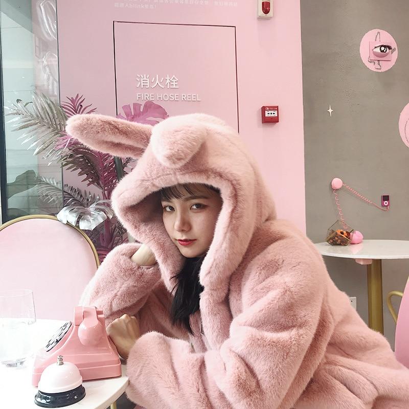 Cute Hooded Faux Fur Rabbit Ears Hooded Fluffy Coat Cartoon Imitation Rabbit Fur Grass Thick Jacket Soft Cardigan Bomber Tops