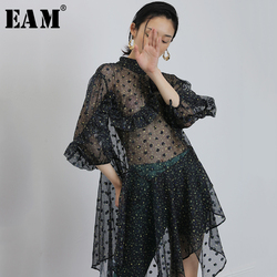 Женское платье EAM, черное платье в горошек с длинным рукавом и стоячим воротником, весна-лето 2020