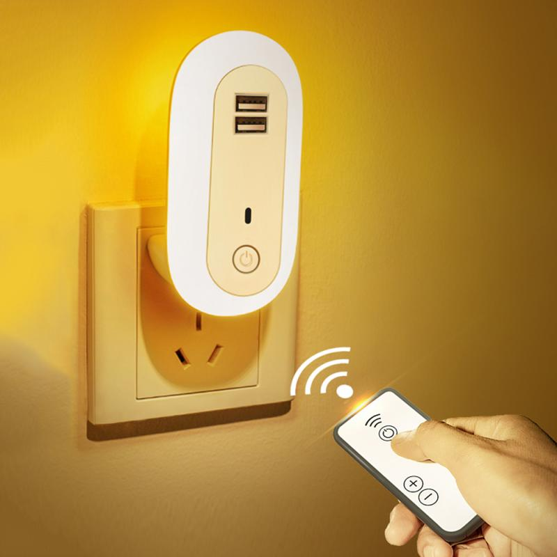 Remote Control Night Light Bedroom Bedside Dual USB Fast Charge Socket Night Light Baby Feeding Lamp Home Lighting Supplies NEW