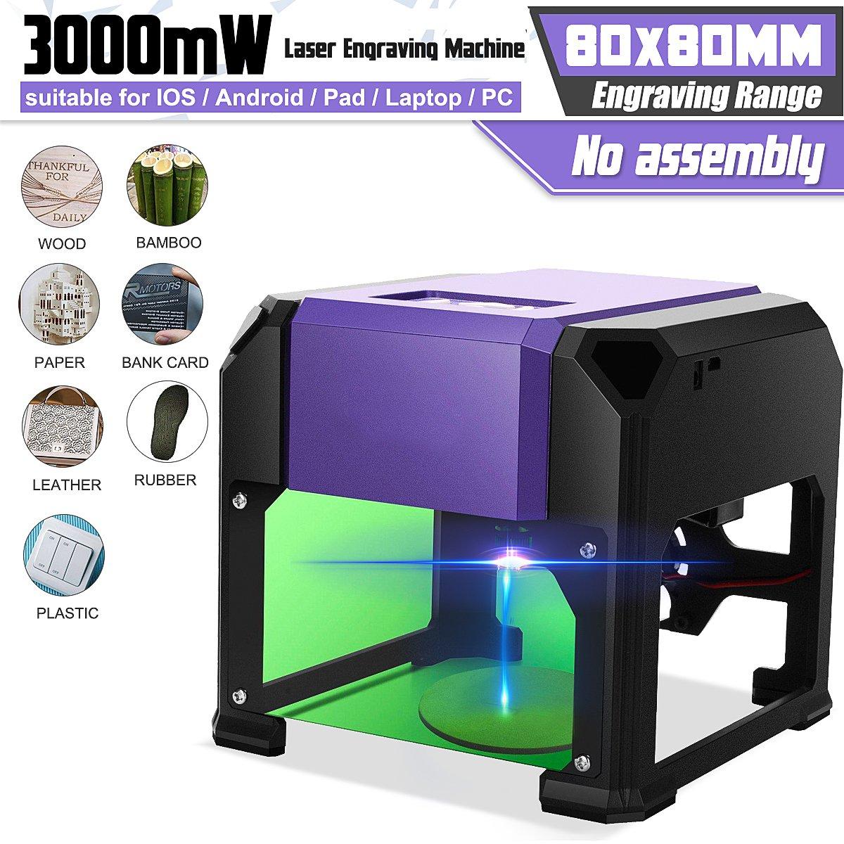 3000 mw desktop máquina de gravura do laser logotipo marcação para win/mac os sistema de madeira roteador cnc laser escultura máquina escala 80x80mm