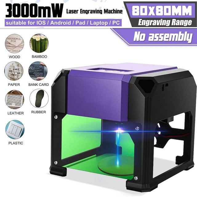 Máquina de grabado láser de escritorio, 3000MW, marcado de logotipo para sistema operativo WIN/Mac, enrutador de madera, CNC, máquina de talla láser de 80x80mmFresadoras para madera