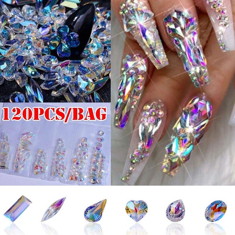 1 Pack AB Flatback Glass Nail Rhinestones Diamond Teardrop Horse Eye Crystals Stones Shiny Gems Manicure Nails Art Decorations