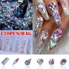 1 paquete de diamantes de imitación de Cristal AB con parte posterior plana, piedras de cristal brillantes para ojo de caballo en forma de lágrima, gemas para manicura, decoración artística para uñas