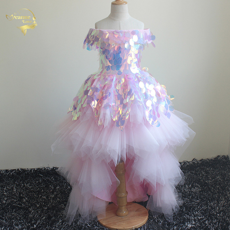 2020 Princess Girl's Birthday Party Dresses Flower Girl Dress Pageant Gowns Short Front Long Back Children Prom Dress Ball Gown