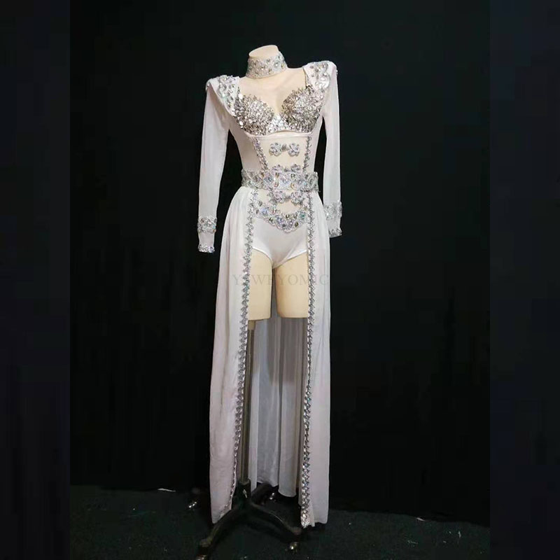 White Silver Rhinestones Dance Outfit Bodysuit Long Tail Costum Dancer Show Outfit Birthday Evening Stage Bodysuit Leotard Skirt