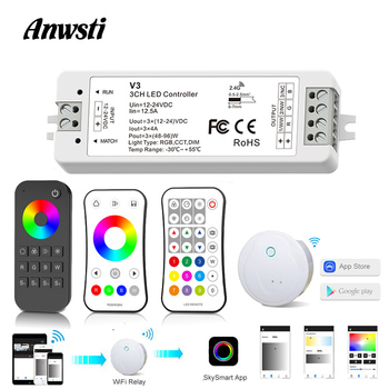 цена на RGB LED Controller 12V 24V DC 12A RF 2.4G Wireless Remote Control Smart Home Wifi RGB Controller Dimmer for LED Strip Light