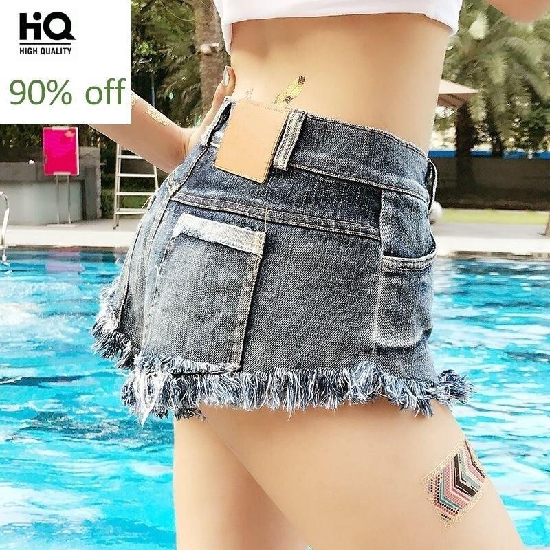 New Fashion Hot Sale High Waist Summer Straight Trousers Womens Jeans Denim Female Shorts Tassel Sexy Beach Trouser Button Blue
