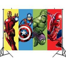 Arrière-plan en tissu Avengers Iron Man Hulk Captain, Stand de super-héros pour fête d'anniversaire pour enfants, décoration murale