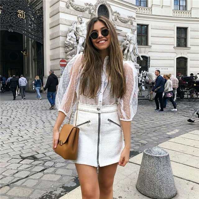 2019 Hot Sale White Transparent Sexy Women Hollow Sheer Mesh Puff Sleeve Blouse Lace Shirt Button Tops Perspective Female Shirt 2