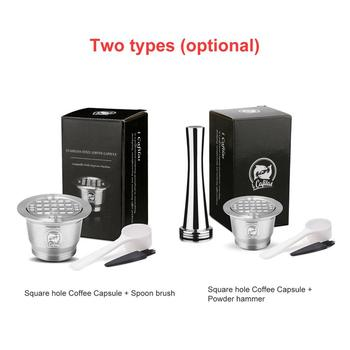 Refillable Square-hole Coffee Capsule Pod Filter Dripper Tamper Stainless steel Compatible with Nespresso Machine